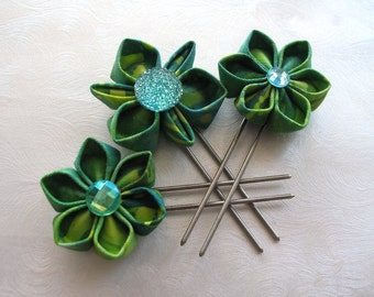 Totally Tropical Green Kanzashi Flower Hair Pins Amish Pins