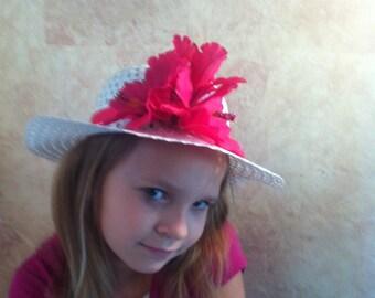 Girls Hibiscus Hat - Tea Party Hat - Church Hat - Girls Dressy Hat