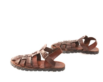mens size 11 HUARACHE leather 80s ETHNIC ITALY sandals