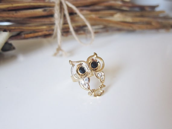 Baby Hooters Ring - Gold Tone Owl Ring