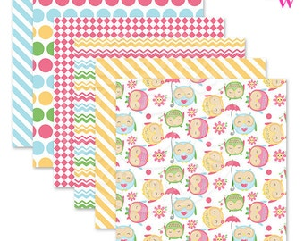 Kawaii Owls Cute Digital Papers, Owl Papers, Spring Patterns, Pastel Scrapbook Papers, Owl Backgrounds, Pattern, Spring Paper