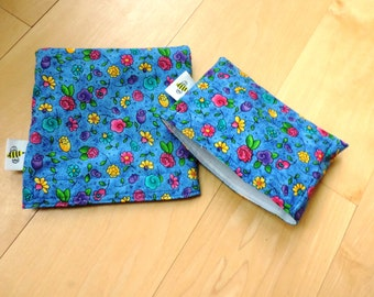 Md/ Sm Blue Bonnets Reusable Snack Sandwich Baggie Bag Set with water resistant lining