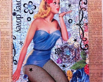 Lily A Blank Handmade Pin Up Girl Greeting Card MATURE