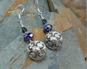 Purple Silver Button Sterling Silver Earrings, Silver Button Earrings, Button Earrings, Purple Button Sterling Earrings