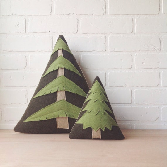 the Evergreen - wool plush tree pillow - MADE TO ORDER