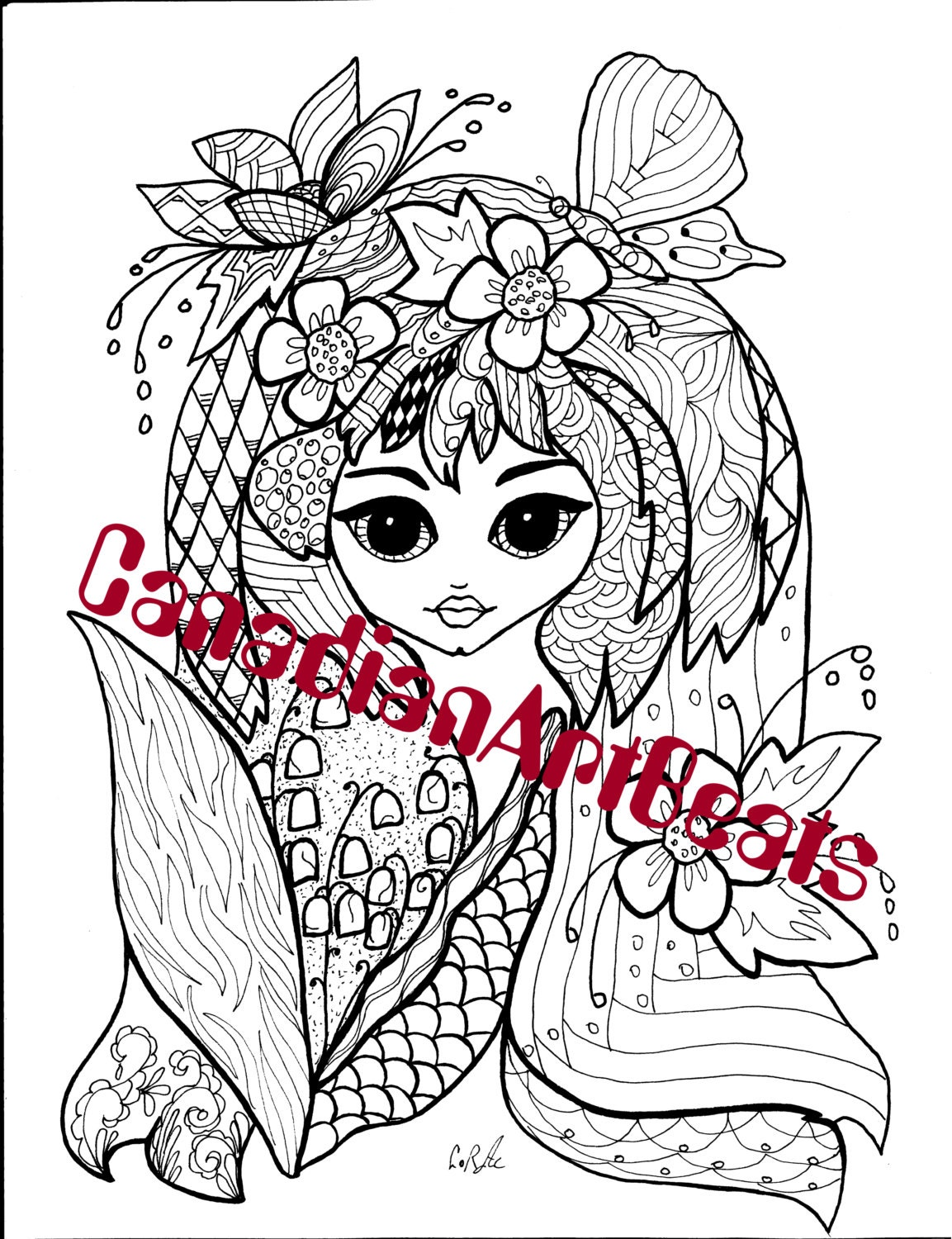 garden fairy fantasy coloring page by canadianartbeats on etsy. Black Bedroom Furniture Sets. Home Design Ideas