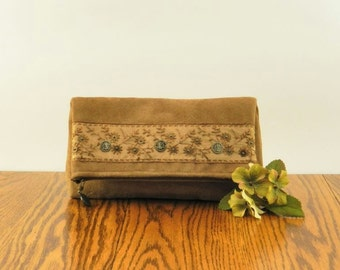 Brown Clutch, Brown Foldover Clutch, Clutch Purse, Small Brown Purse, Vegan Suede Clutch with Beautiful Copper Beaded Embroidered Trim
