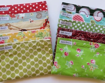 Reusable Snack Bags Any Six You Choose Fabric