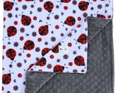 Minky Blanket Ladybug Double Minky Blanket, Baby Shower, Baby Gift, Nursery Bedding, Security Blanket, Stroller Blanket, Ladybug Blanket
