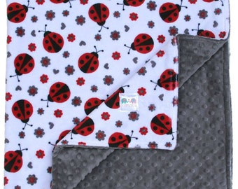 Ladybug Double Minky Baby Blanket, Baby Shower, Baby Gift, Nursery Bedding, Security Blanket, Stroller Blanket, Ladybug Blanket