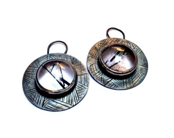 Oxidized silver earrings with rutilated quartz by CARLOS TELLECHEA