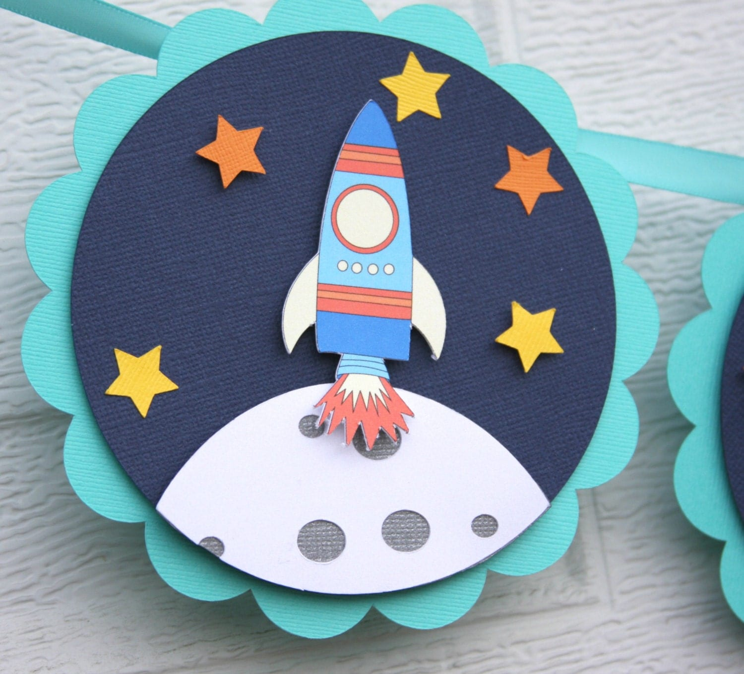 Space birthday space themed rocket ship banner outer space for Vintage outer space decor