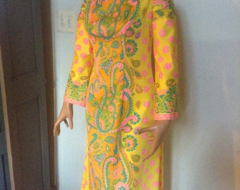 1960's Hippie Dress Psychedelic Print Flower Child Dress Boho Dress