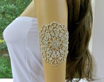 Rhinestone  Arm Bracelet, Bridal Rhinestone Cuff, Rhinestone Cuff Bracelet, Wedding Bridal Bracelet