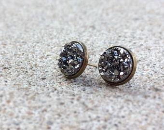 Gray Earring Suds - Black Diamond Earrings - Faux Hematite Earrings - Business Casual - Black Stone Earrings - Gothic Jewelry