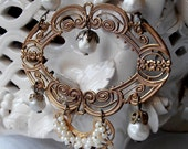 on sale Victorian age 20s style necklace, Lorella Dia design, vintage faux pearls, rhinestones, Venetian beads antiqued brass vintage OOAK