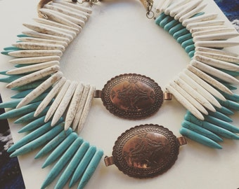 Vintage Turquoise Statement Necklace/ Concho Necklace/ Western Jewelry/ Turquoise Jewelry/ Fall Accessories