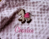 Personalized baby blanket-pink and brown horse- baby girl lovey blanket