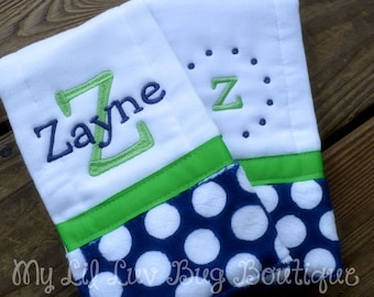 Personalized Burp cloth set prefold diaper- midnight blue mod polka dot with lime green- set of two