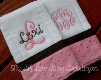 Personalized Burp cloths - set of two prefold diaper-  hot pink and brown