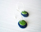 Navy Blue Earrings, Silver Hoops, Enamel Jewelry, Olive Green, Modern, Geometric, Simple, Colorful