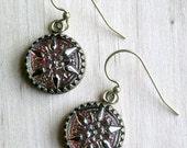 Star Flower Czech Jewelry Czech Glass Jewelry Star Jewelry Glass Button Earrings Czech Glass Earrings