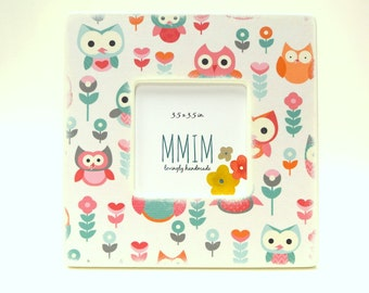 Owl Picture Frame,Little owls Photo Frame, Fun Owls, Birthday, Nursery, Kids Room decor, Picture frames, Unique wood frames, Girls room,