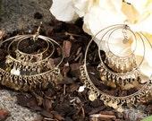 GOLD Hoop Earrings,Large Chandelier Earrings,Belly Dancers Earrings,Gold gypsy Earrings by Taneesi