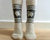 READY TO SHIP White Wool Socks With Sheep Ram Christmas Fair Isle Winter Scandinavian