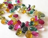 "Multi Colored Quartz Beads, Dyed Quartz Teardrop Pear Beads, MultiColor Freeform Irregular Bead, Top Drilled Briolette, 15"" Strand"