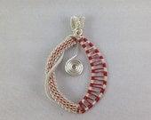 Wire wrapped pendant - copper - silver - wire - red