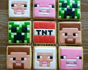 1 Dozen Minecraft Cookies, Choice of 4 Designs