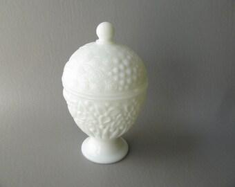 Covered Milk Glass Candy Dish, Avon, Pedestal