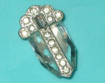 Vintage Art Deco Beveled Crystal Glass and Rhinestone Pot Metal Clip