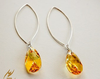 Yellow Light Topaz Swarovski Crystal Sterling Silver Earrings, Minimalist Style Earrings, Pear Shape Swarovski Crystals, Fashion Earrings