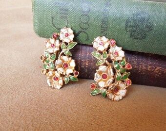 Vintage 60's Earrings, Floral Bouquet Clip on Earrings, White Green Red Gold Enamel with Rhinestones, Mid Century, Rockabilly, 50's Style