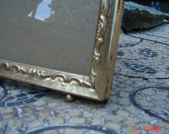 Vintage Brass color Metal and Glass Ornate Picture Frame - Beautiful