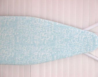 Ironing Board Cover in Standard Size - Off White Script - Writing - Words - Spa Blue background.
