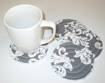 Quilted Fabric Coaster – Set of 4 - Mug Rug – Grey and White Damask - Coffee Coaster - Tea Coaster - Juice Coaster