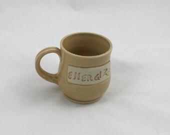 Golden Energize Mug Pottery Handmade by Daisy Friesen