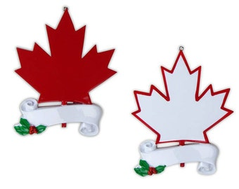 Canada Maple Leaf Personalized Christmas Ornament- Tourist ,Travel ,Wedding Honeymoon 1st Anniversary  Gift Favor- Free Personalization