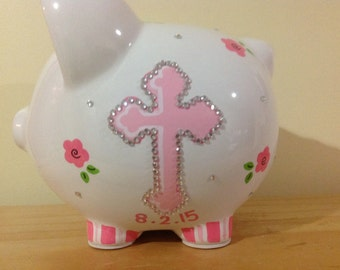 Personalized Large Christening / Baptism Piggy Bank -Flower Girl,Newborn, Baby Shower Gift Centerpieces