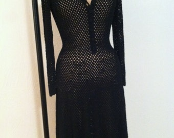 Fine Black Rayon Open Weave Crochet Clingy Vintage A-Line Dress S