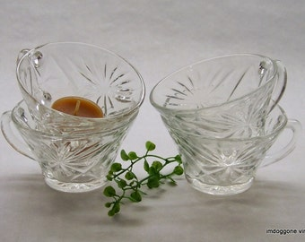 "Vintage Anchor Hocking ""Prescut Clear"" Punch Cups, Set of Four, Glass Punch Cups, Star and Fan Clear Punch Cups, Tea Cups"