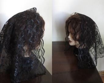 Black  White lace church veil - Headcovering - prayer mantilla