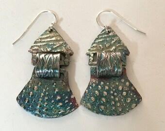 urban shield, tribal, modern relic earring, house or castle earrings, medieval armour earrings, silver sea urchin earrings, kinetic earrings
