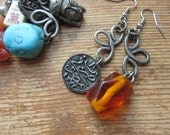 Upcycled Asymmetrical Mismatched Charm Earrings with Ancient Coin, Faux Amber, Chinese Asian Oriental Theme, Tribal Hippie Rustic Jewelry