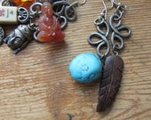 Upcycled Asymmetrical Mismatched Charm Earrings, Faux Turquoise, Wooden Feather, Native American Indian Theme, Tribal Hippie Rustic Jewelry