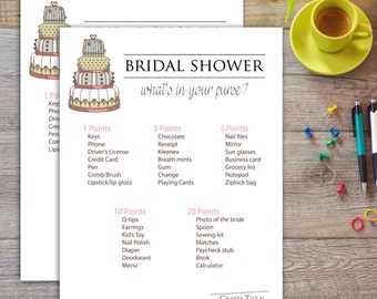 Whats In Your Purse Cake Theme - Bridal Shower Game
