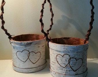 Birch Bark Flowergirl Basket with hearts
